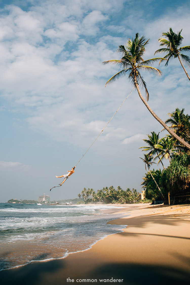The rope swing at Dalawella beach - best things to do in Sri Lanka