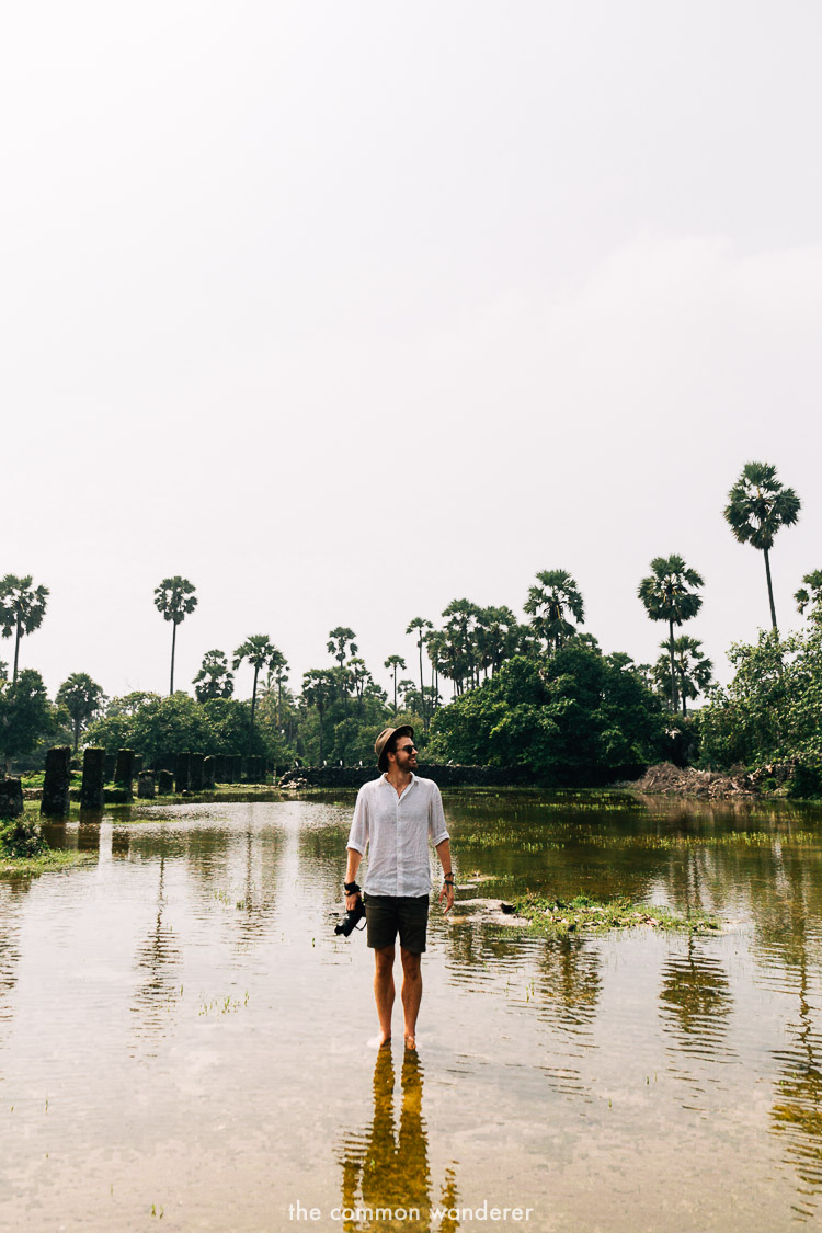 Standing in water at the dutch horse stables, Delft Island Jaffna - the best things to see and do in Sri Lanka