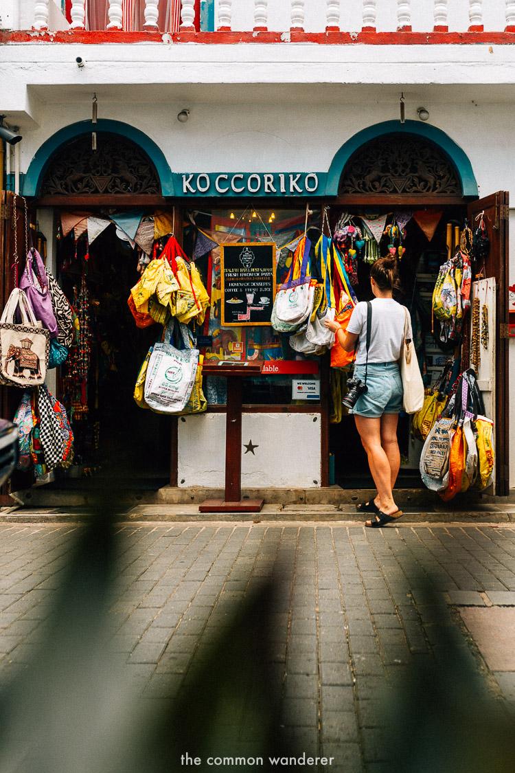 Shopping on Peddler St Galle Fort
