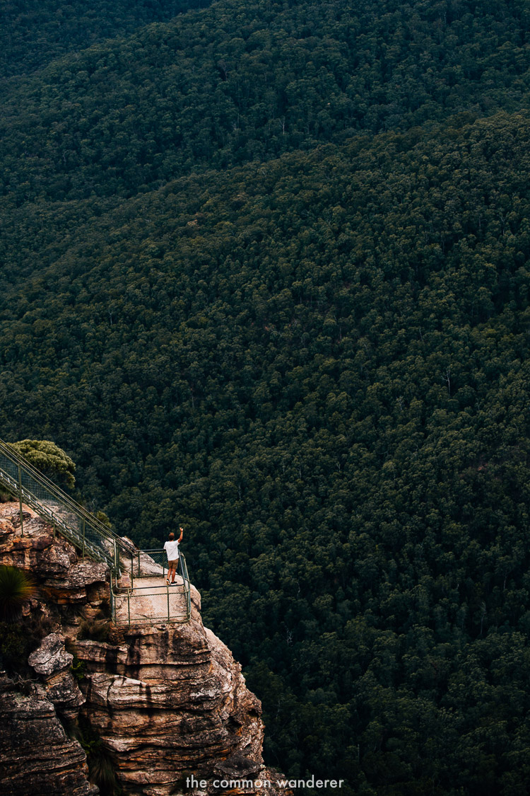 At the epic Pulpit Rock viewpoint, Blue Mountains