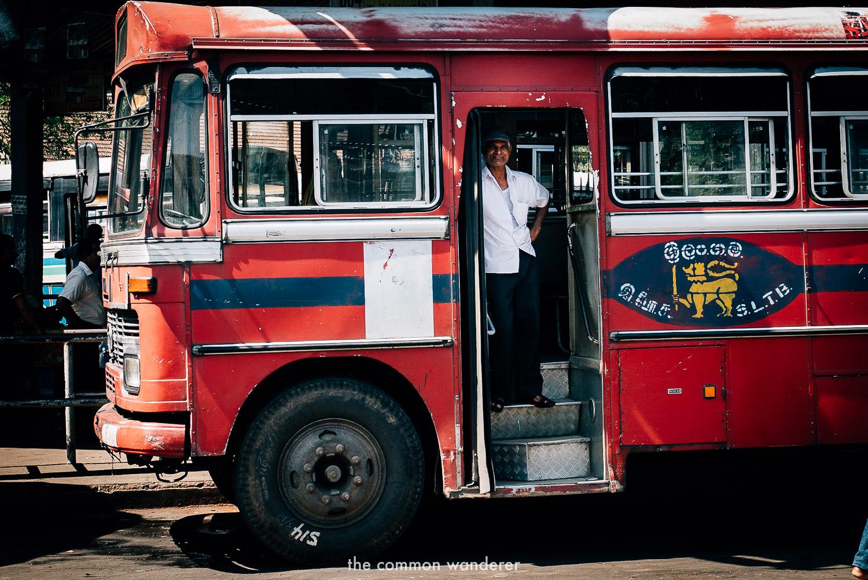 A local bus waits at Kandy bus stop - sri lanka travel tips
