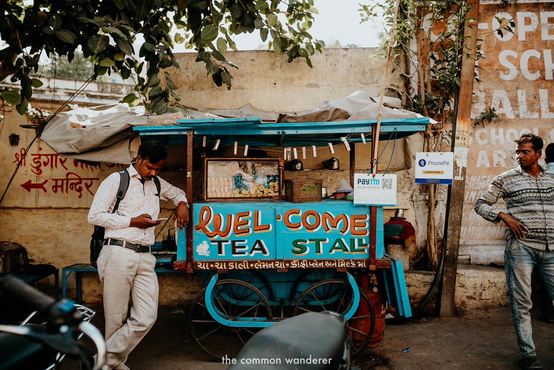 a colourful chai tea stall in Udaipur