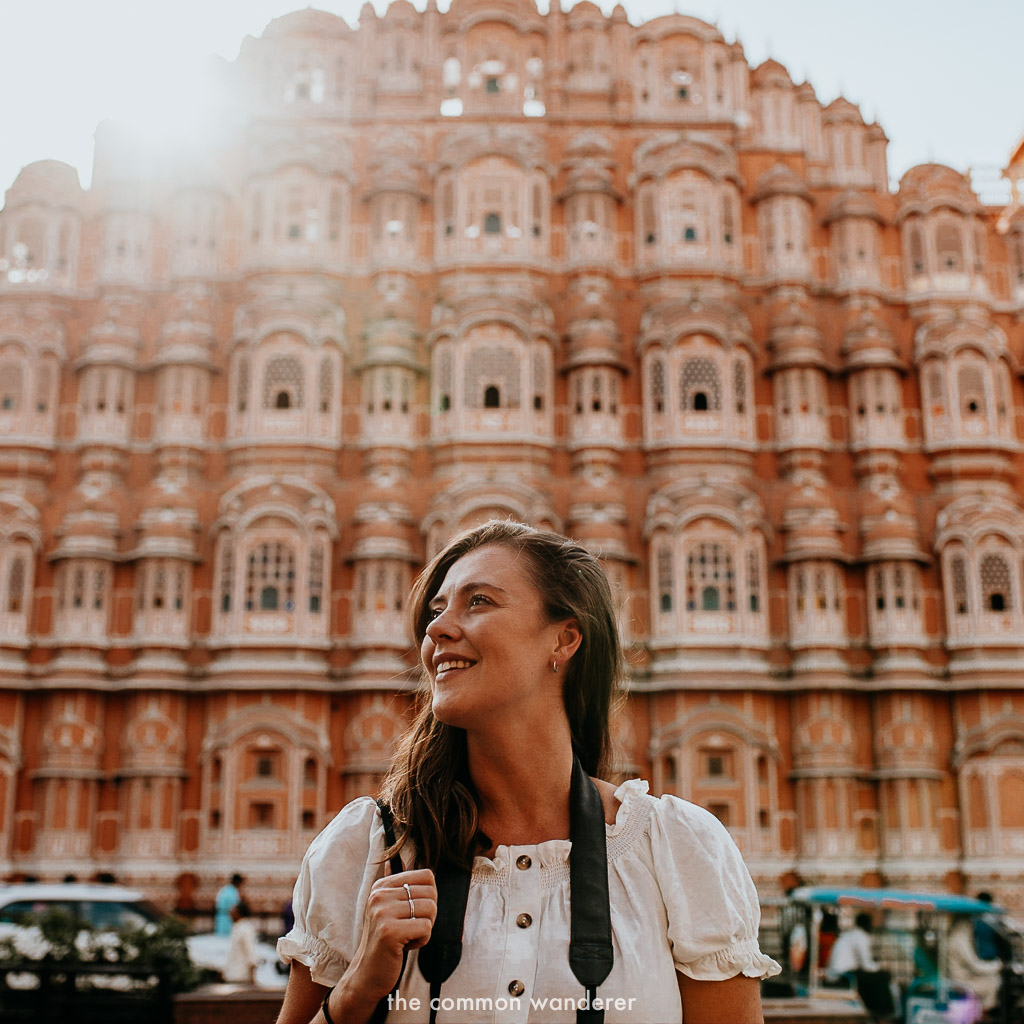 standing in front of Hawa Mahal, the palace of the winds, Jaipur