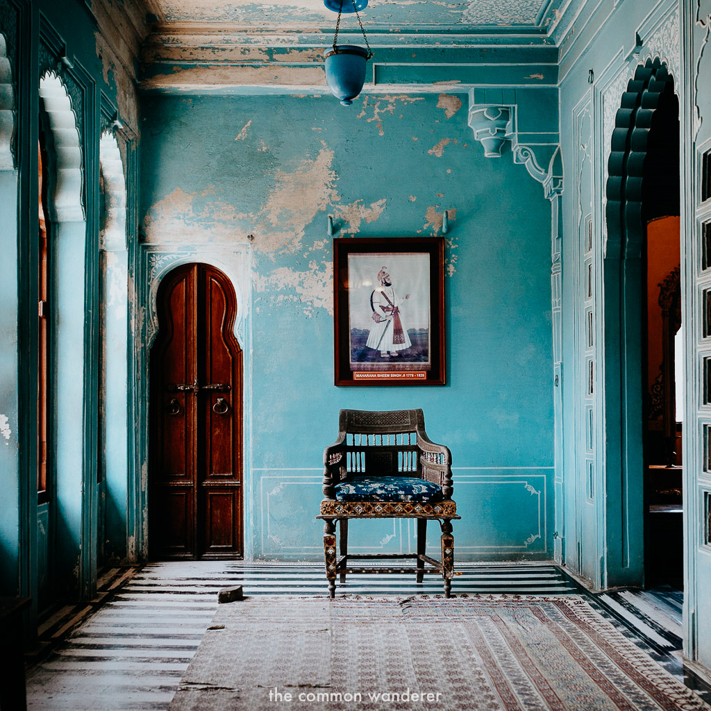 The blue interior of Udaipur City Palace, Udaipur