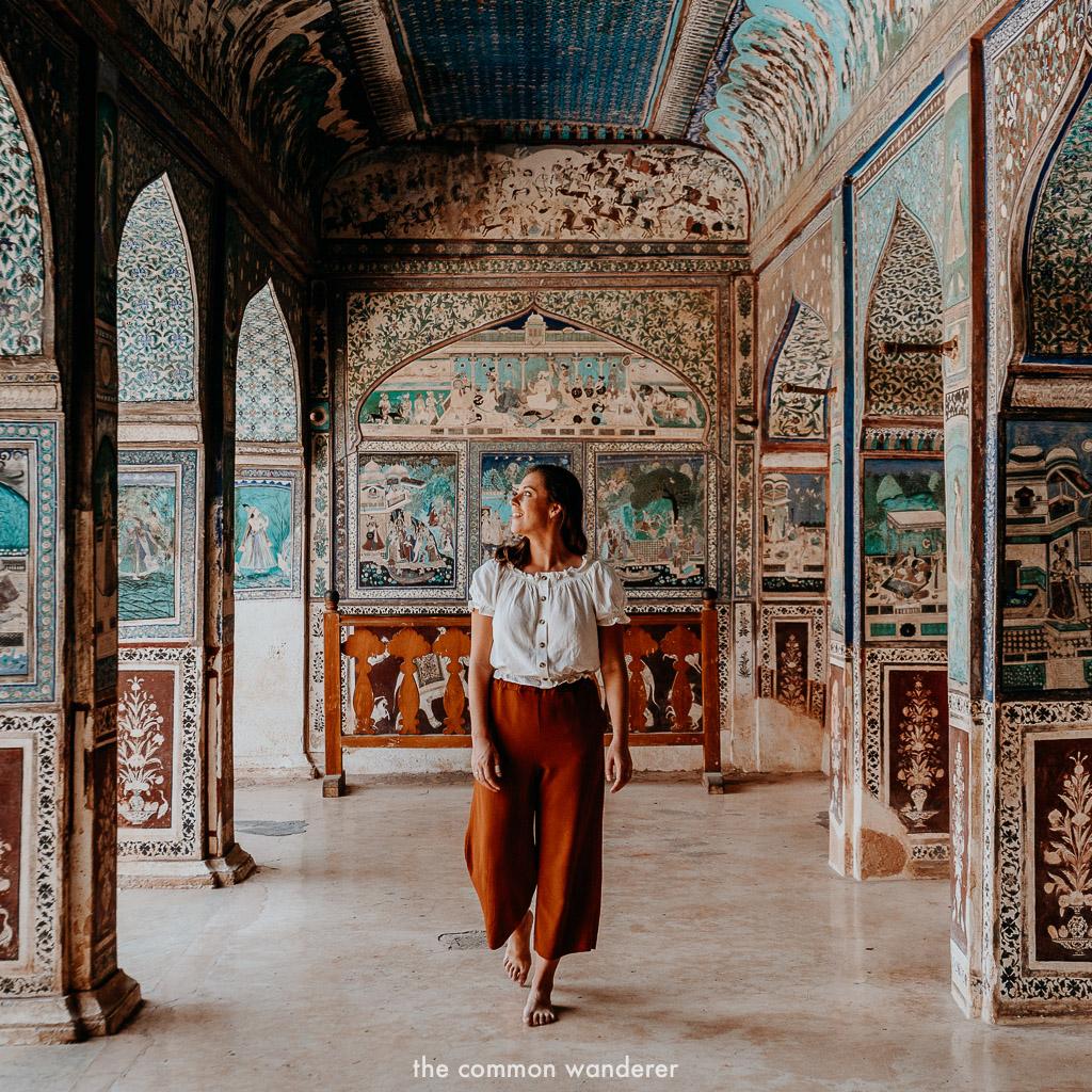 Admiring the frescoes of Garh fort, Bundi