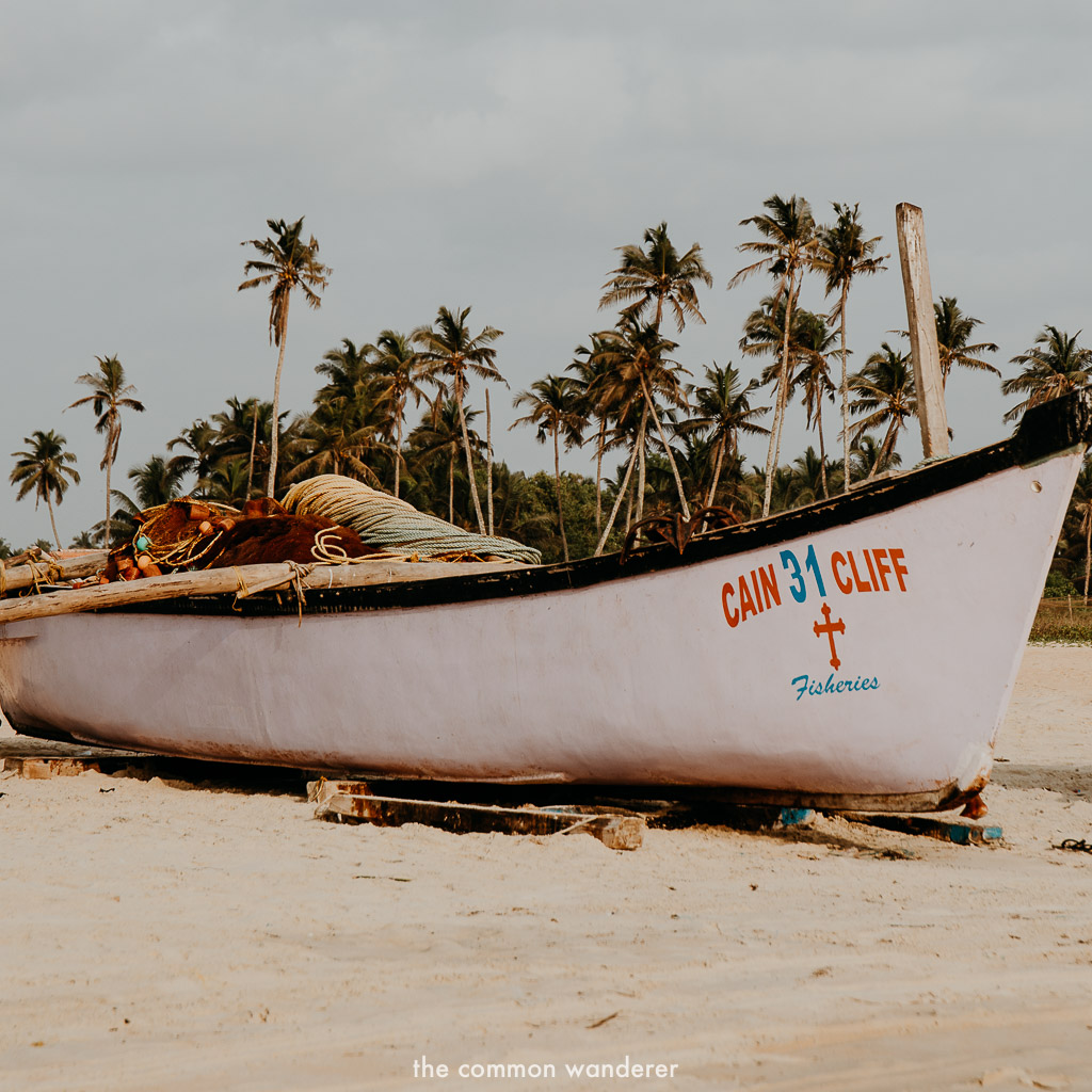 A fishing boat on the beaches of Goa, India