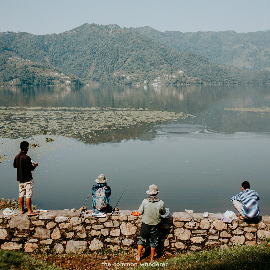 Fisherman on the shores of Phewa lake, Pokhara