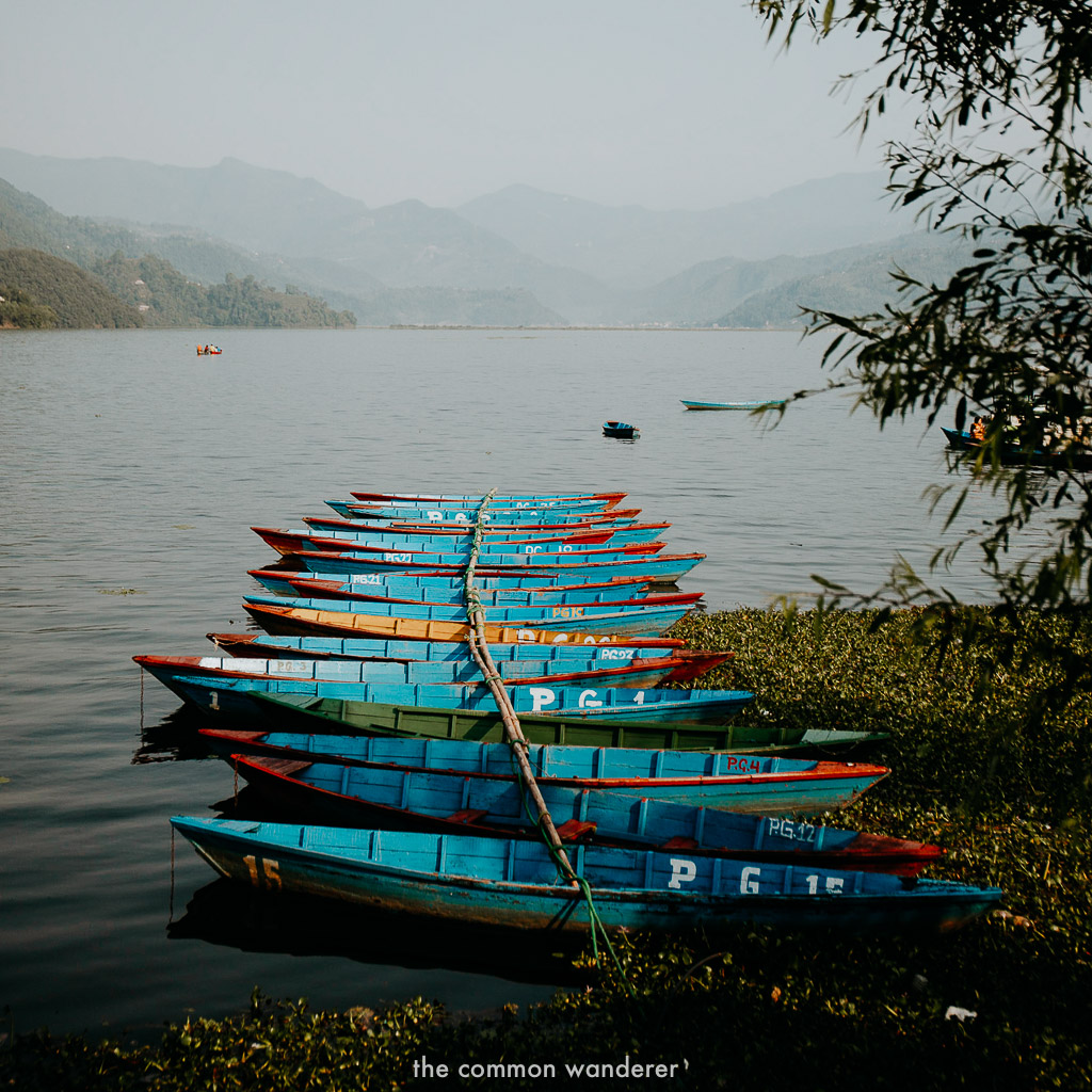 Boats on the shores of Phewa Lake, Pokhara