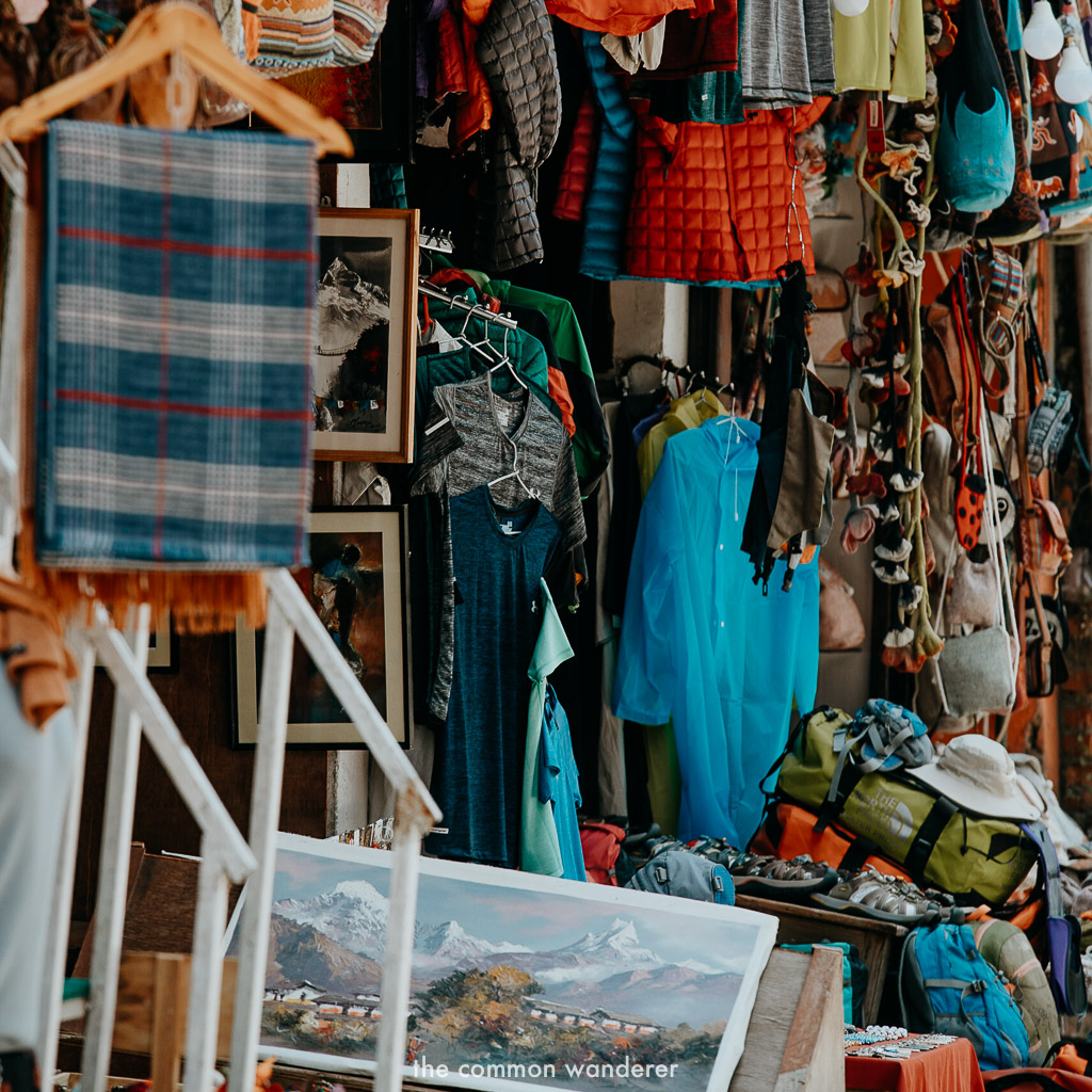 Hiking gear, paintings and other goods can be found while shopping in Pokhara