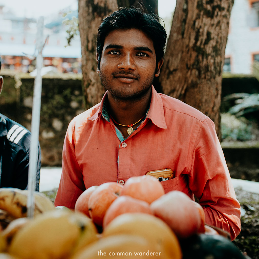 A local man selling fruit in Pokhara, Nepal