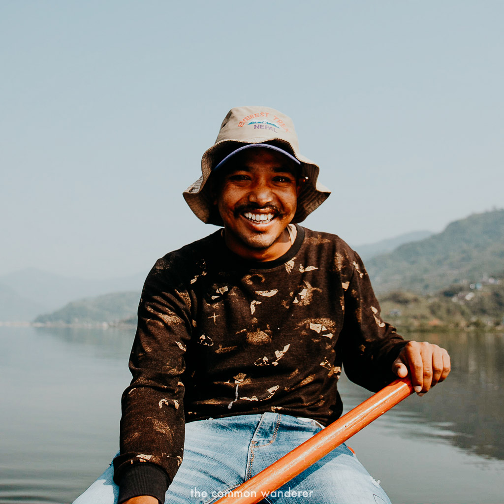 A portrait of our boat skipper Ishor, on Phewa Lake, Pokhara