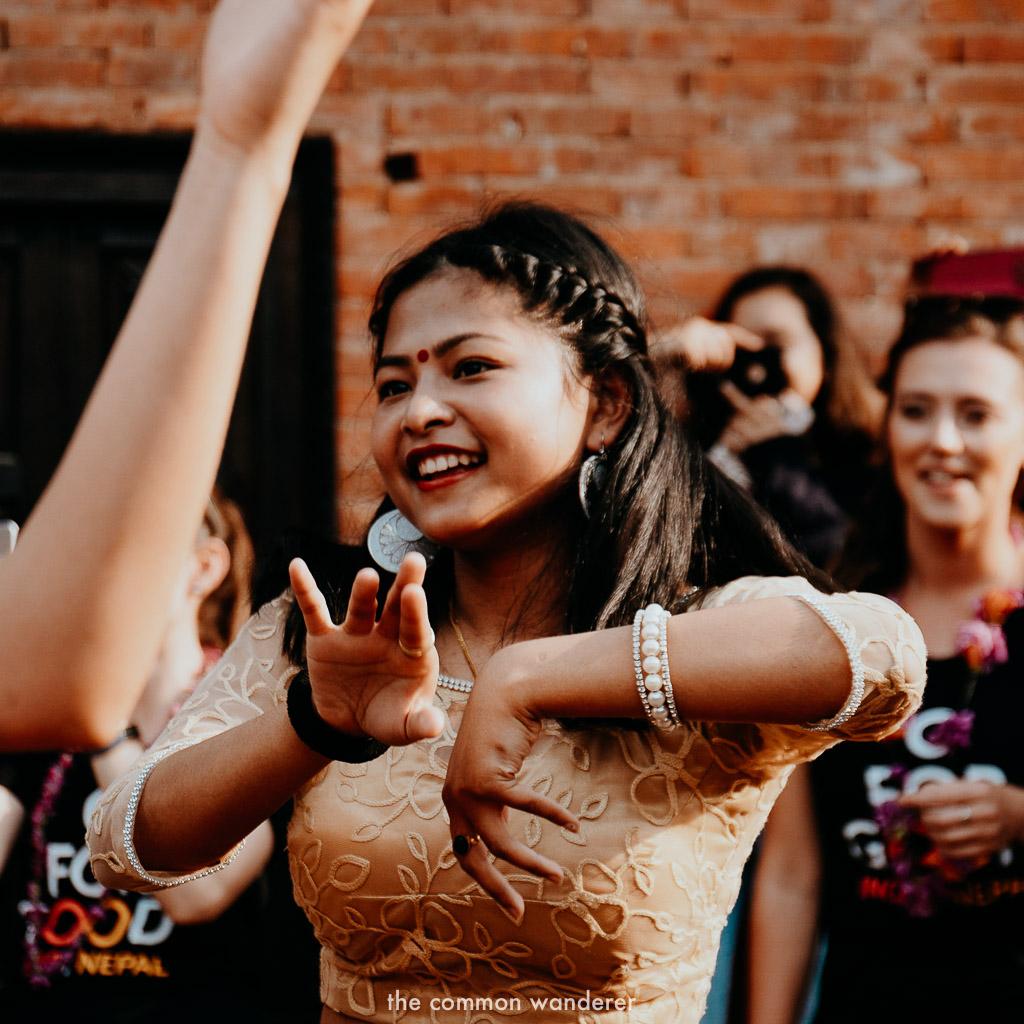 A local Newari woman dances in Panauti, Nepal