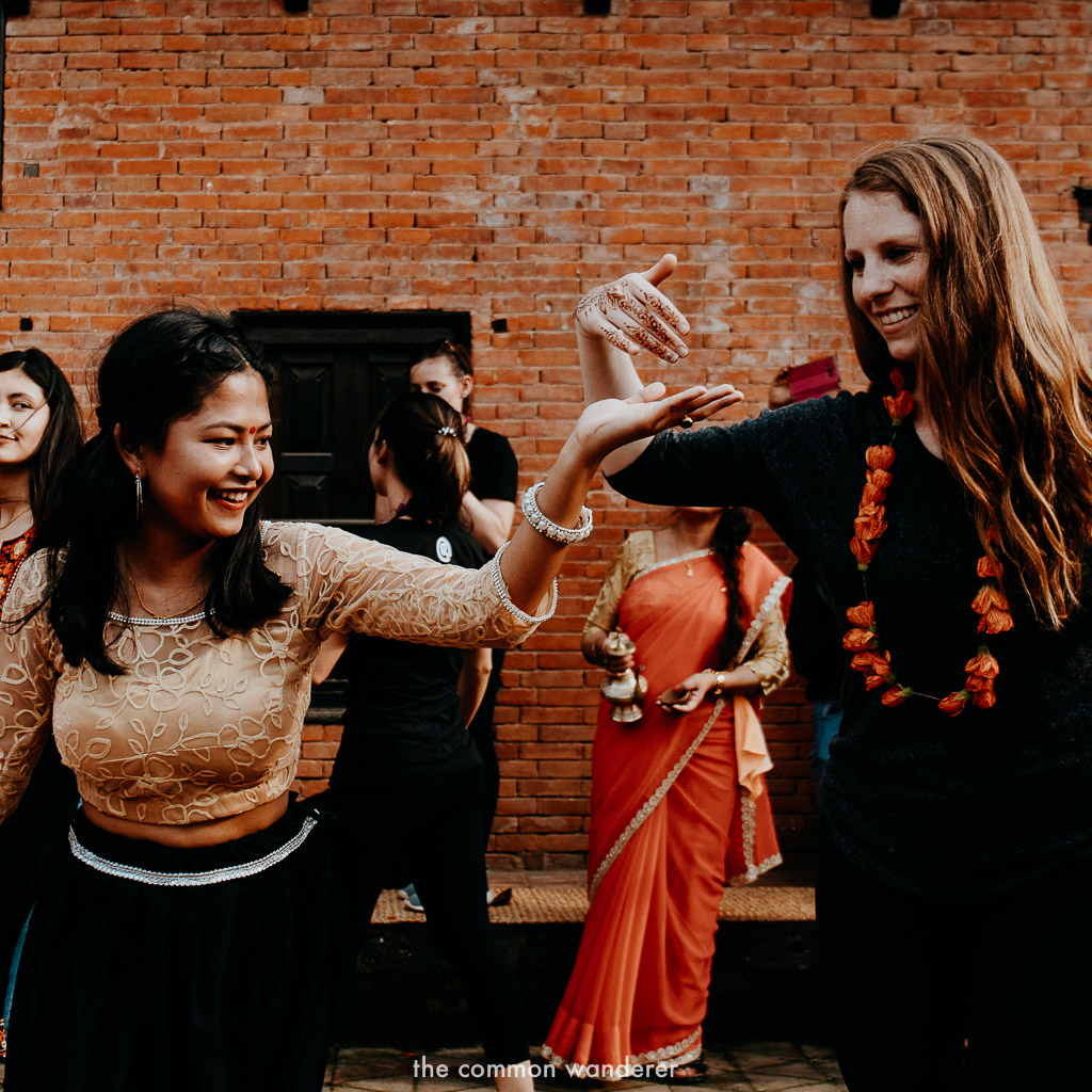 Getting involved in local dancing on the Panauti community homestay program, Nepal