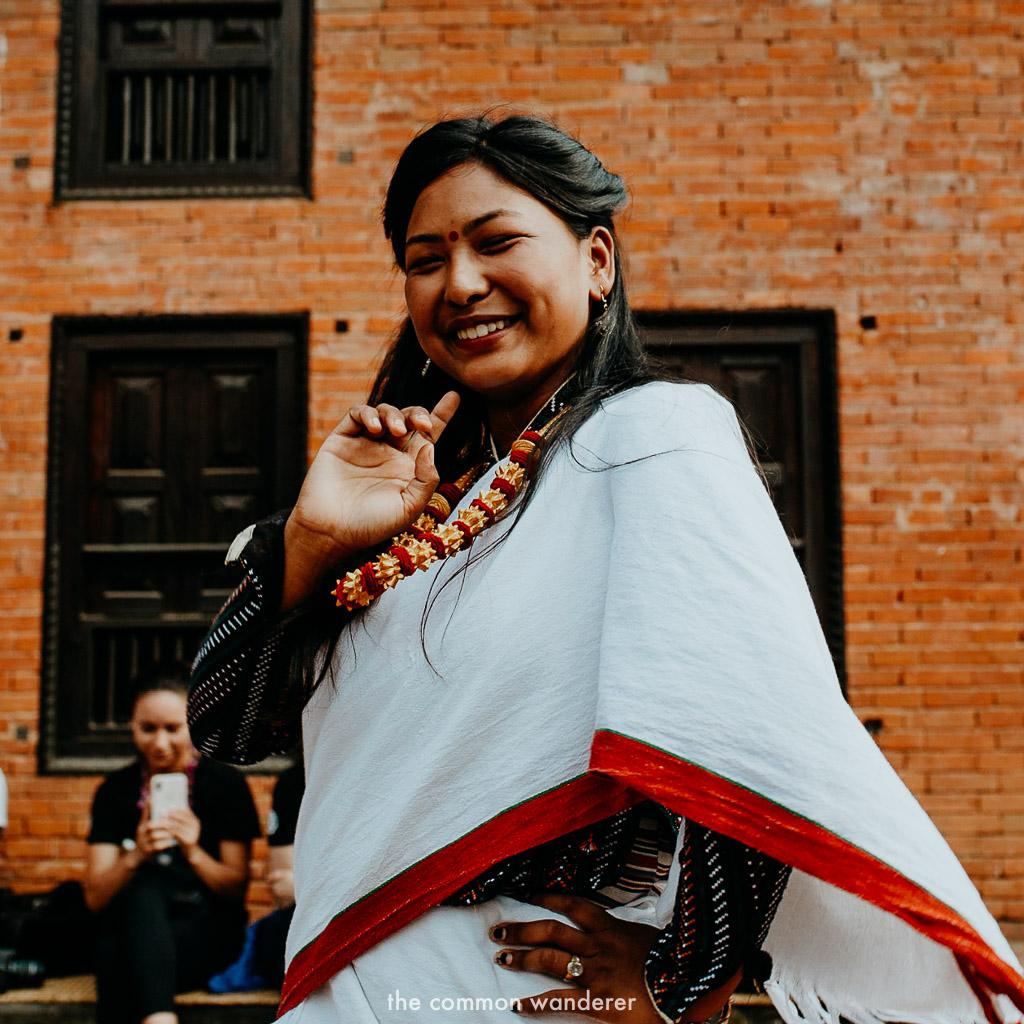 A local woman dancing in Panauti, Nepal