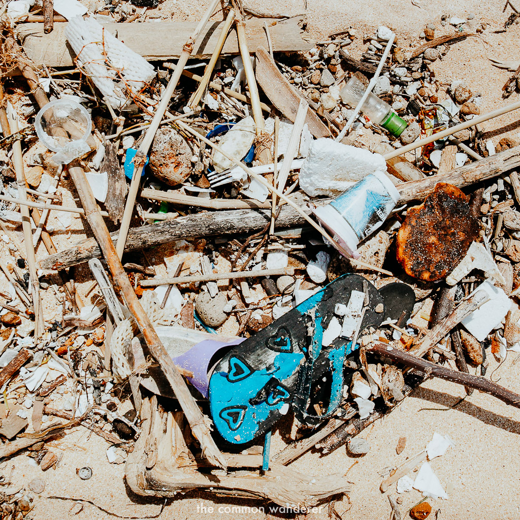 plastic pollution on a beach in Bali, Indonesia
