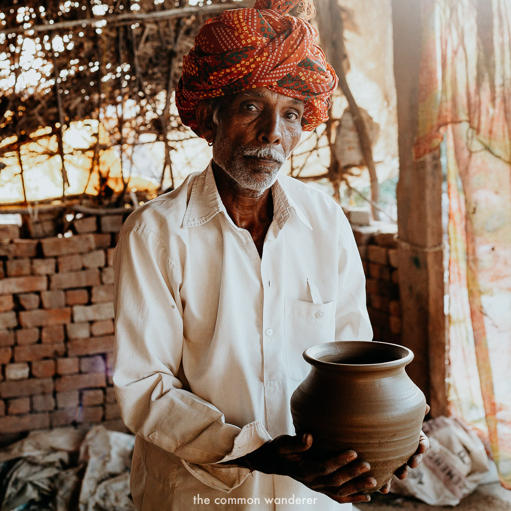 A pottery maker in Theekarda village, Rajasthan