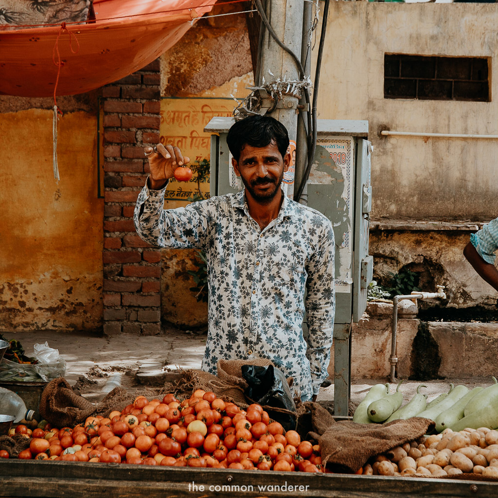 A local sells tomatoes in Bundi