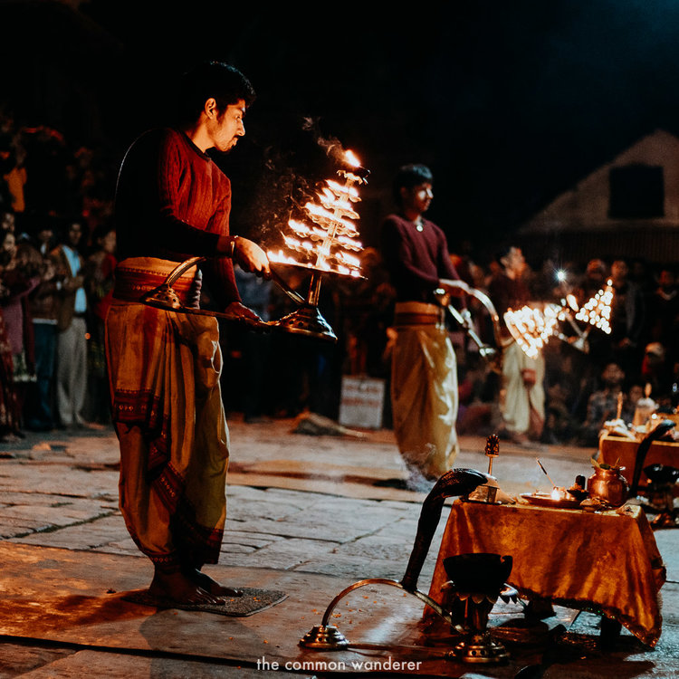 Aarti ceremony at Pashupatinath temple, Nepal