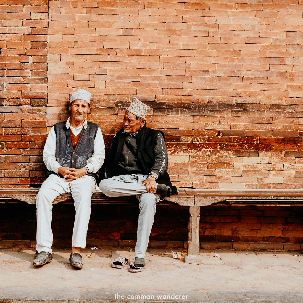 Old men chatting in Patan Durbar Square, Kathmandu