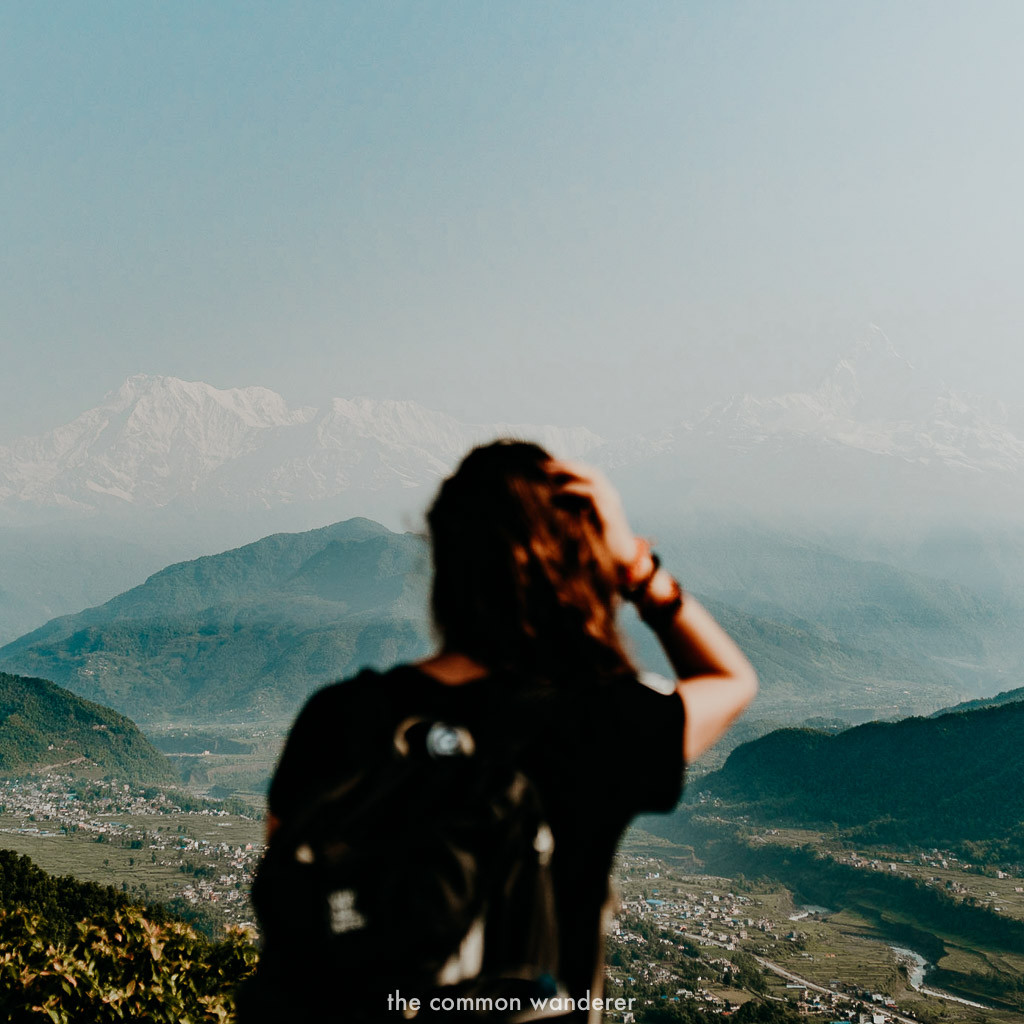 Overlooking the Annapurna range from Sarangkot looking in Pokhara