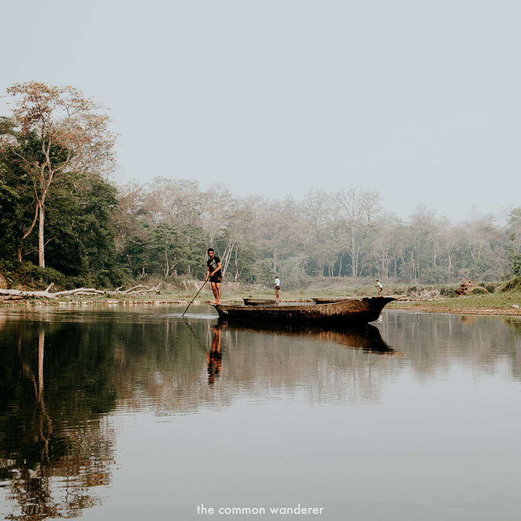 Dugout canoe down the rapti river in Chitwan, Nepal