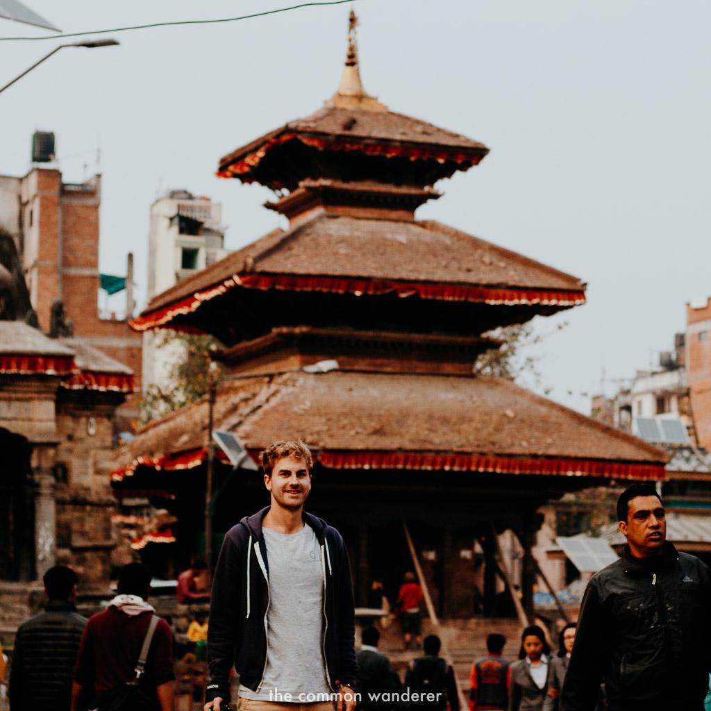 Mark standing in Kathmandu Durbar Square