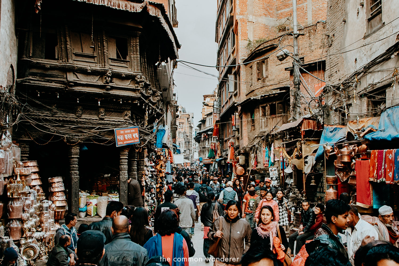 The bustling streets of Asan bazaar, Kathmandu