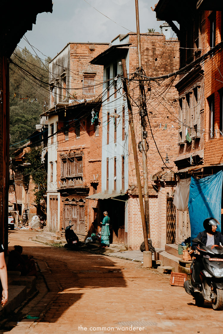 The old town streets on Panauti, Nepal