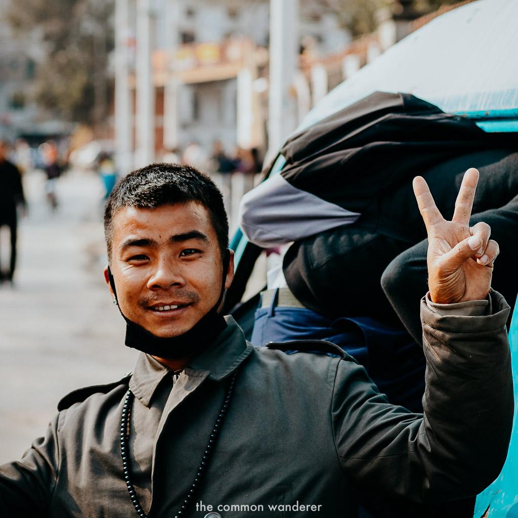 catching a bus in Kathmandu