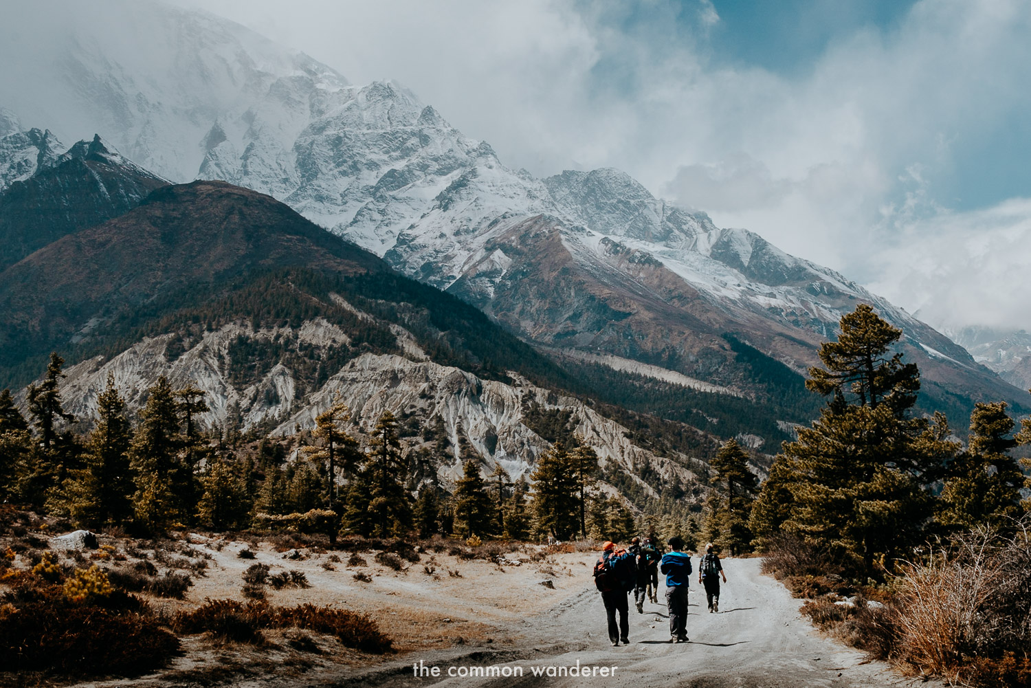 A group hikes along the Annapurna Circuit, Nepal