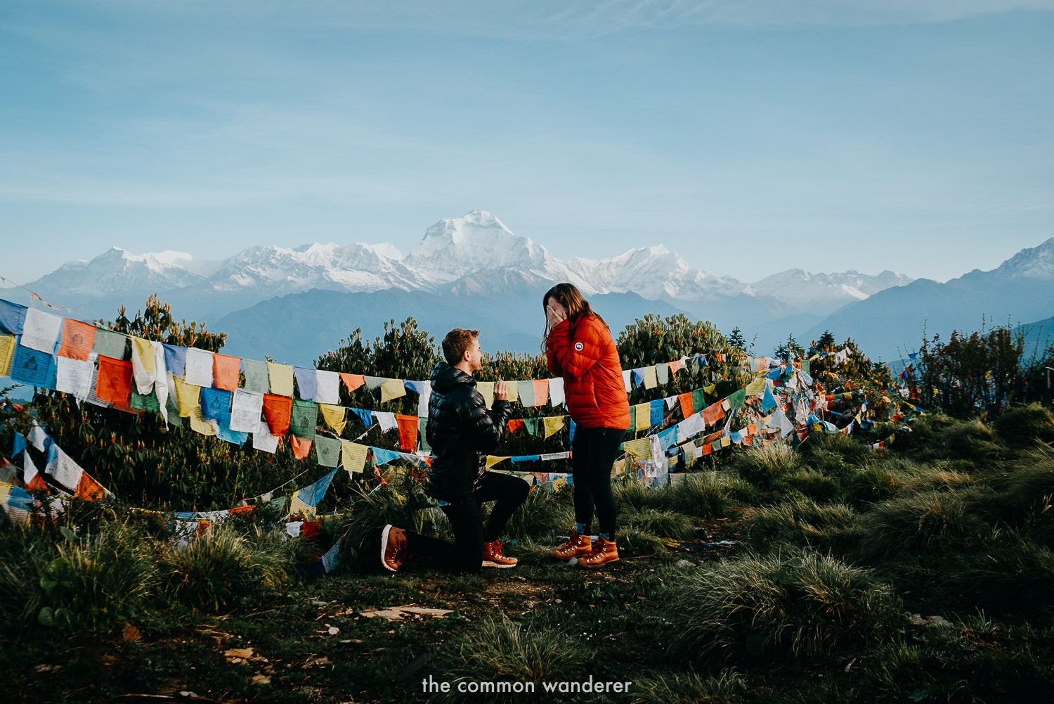 The Common Wanderer getting engaged at Poon Hill, Nepal