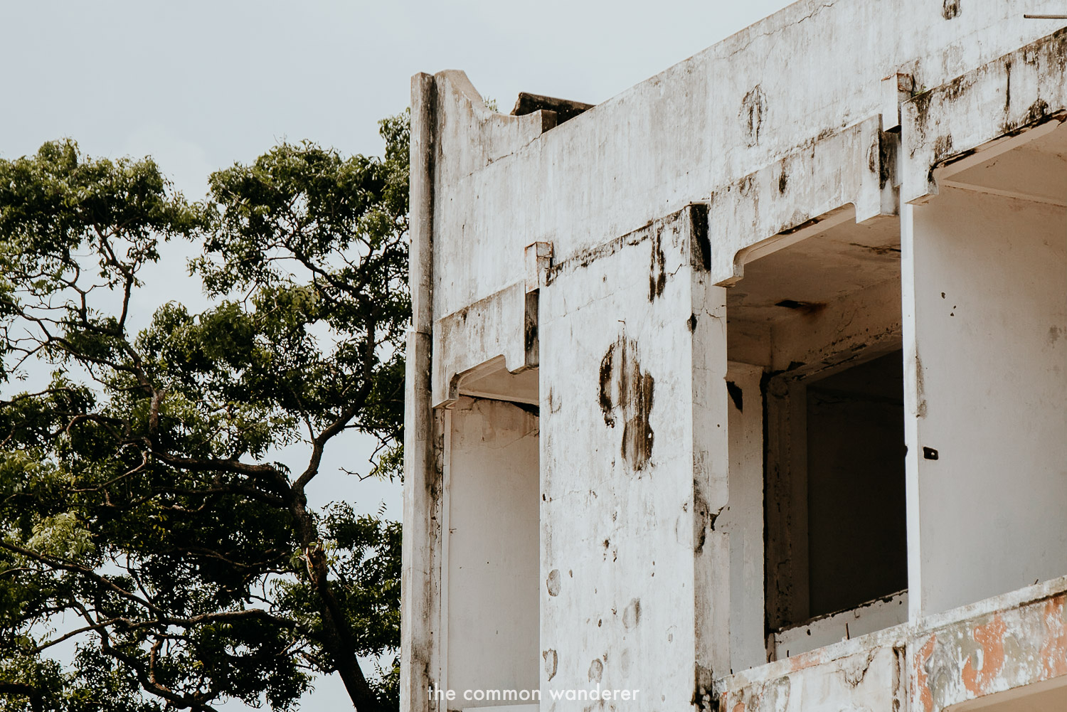 Damage from the Jaffna war is still present on some buildings in Jaffna