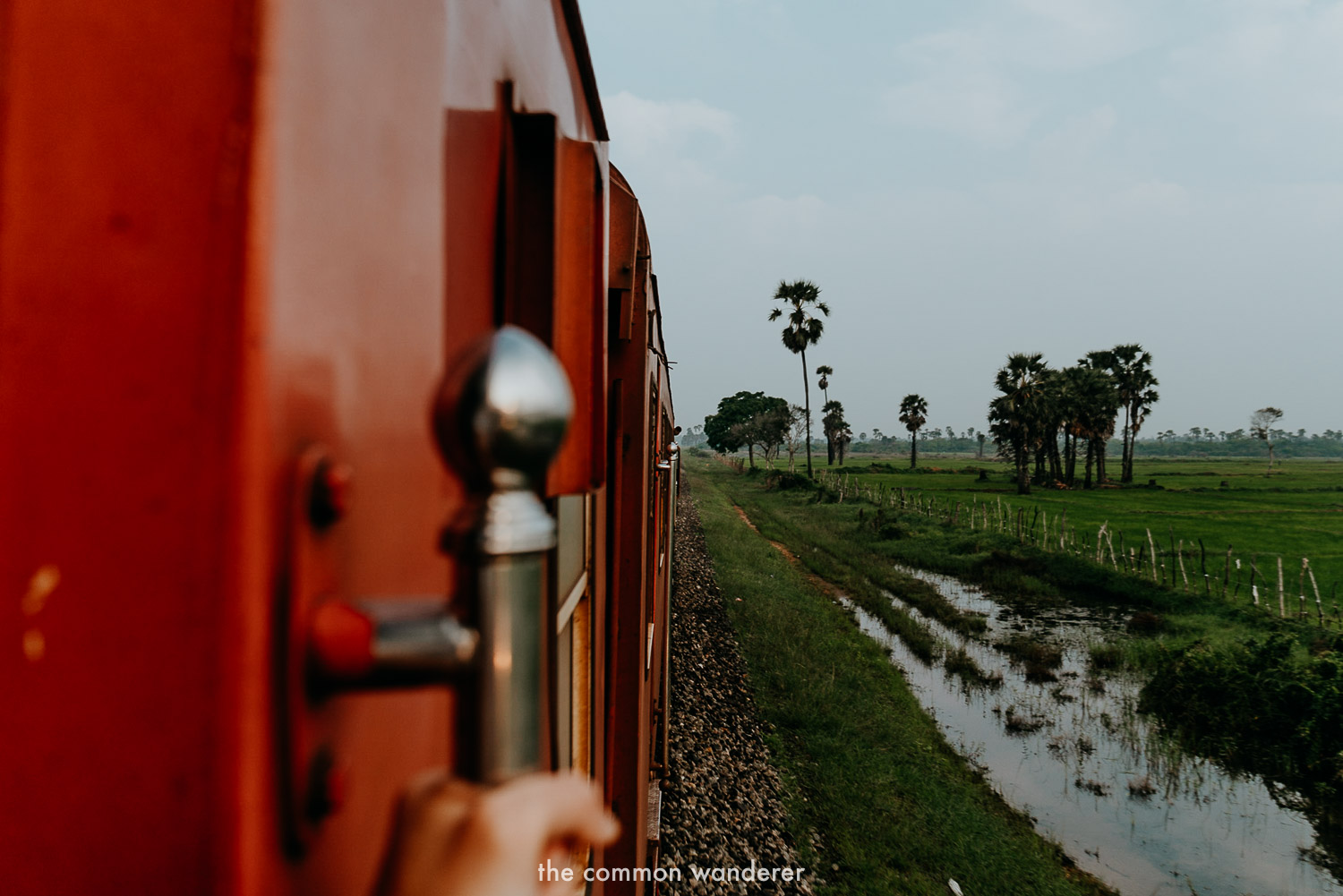 Looking out of the Jaffna train