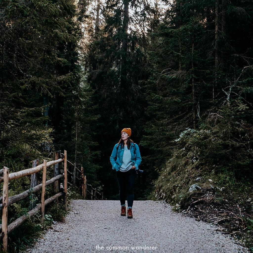 strolling through the woods surrounding Lago di Carezza