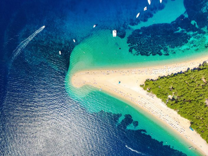 The famous Zlatni Rat (Golden Horn) beach in Bol on the island of Brac