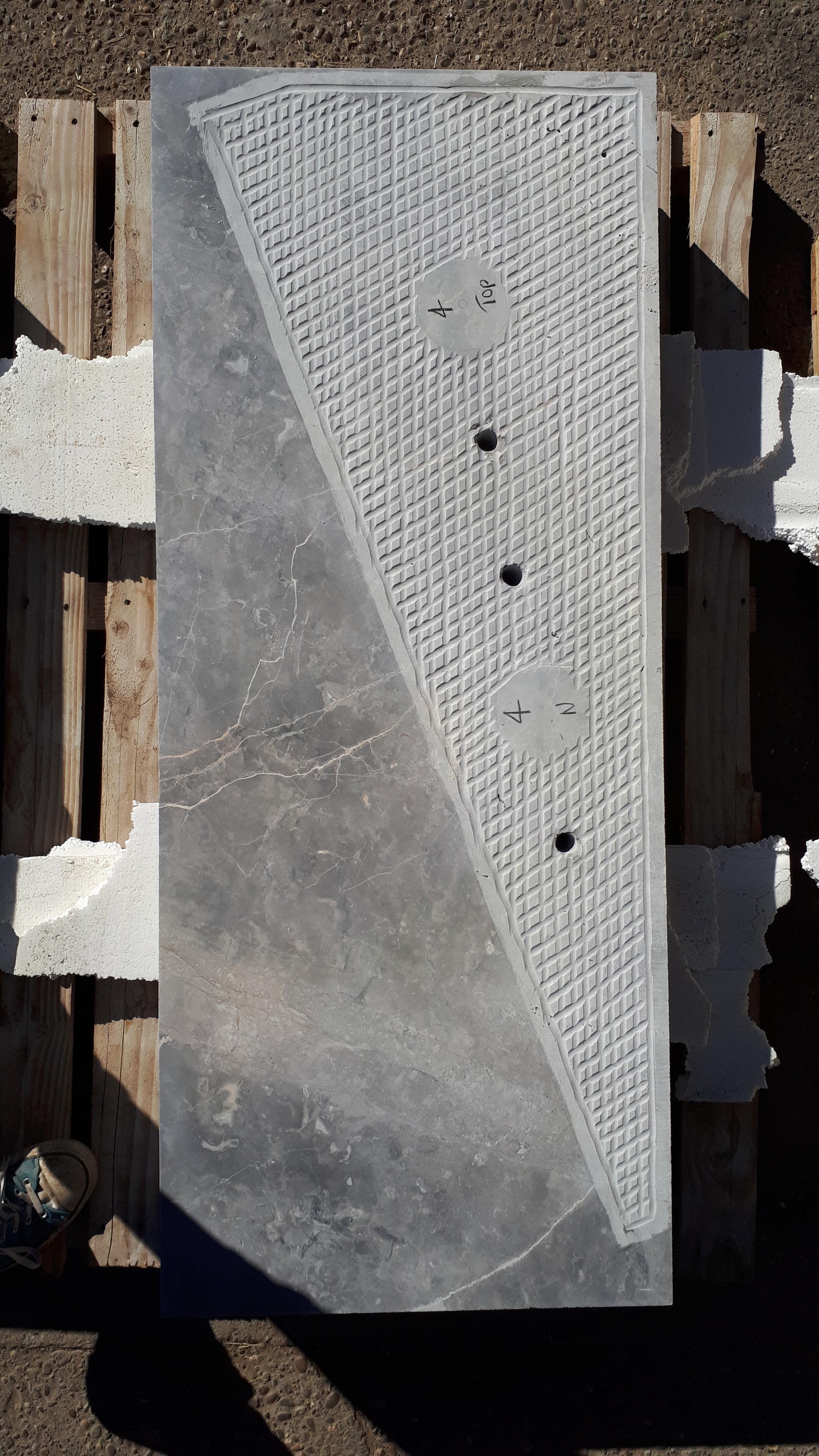 Image of shaping in progress using Bosco Di Fiore stone.