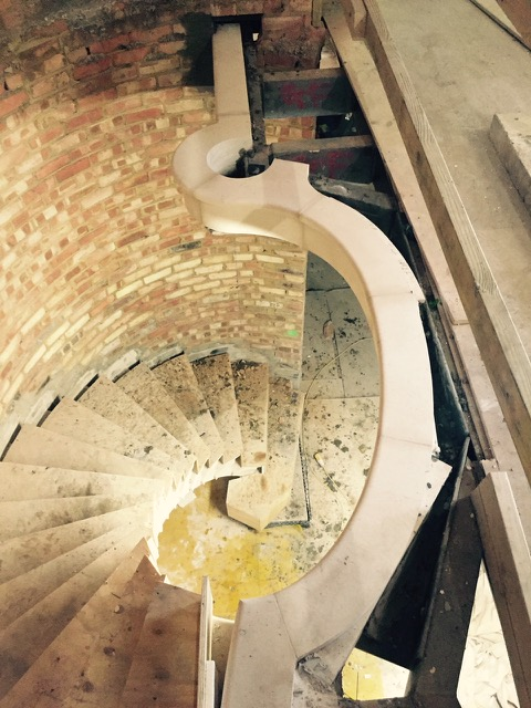 4 Flight Cantilever Stone Staircase - Fitting In Progress