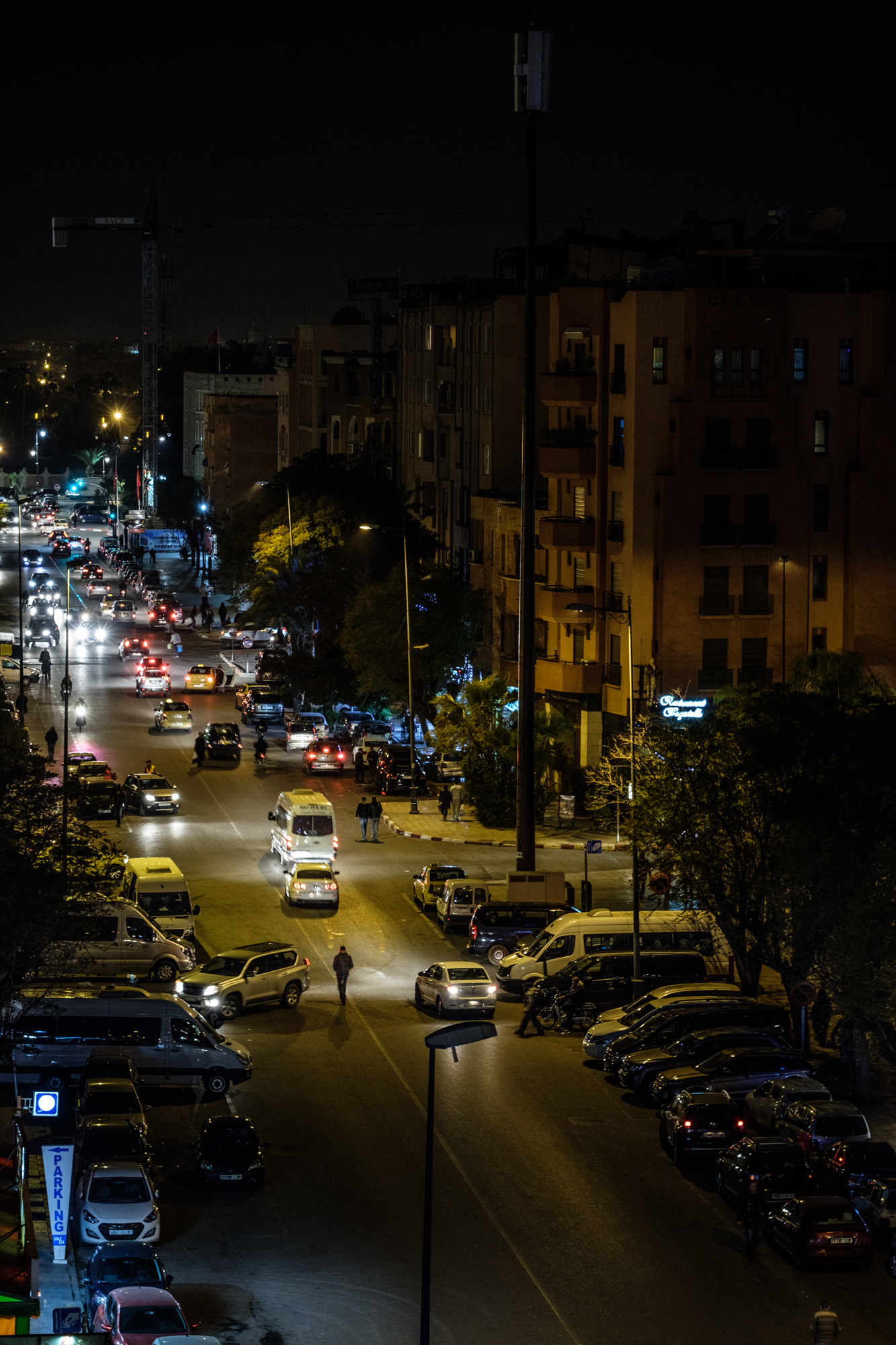 The streets of Marrakech at night from Almas Hotel