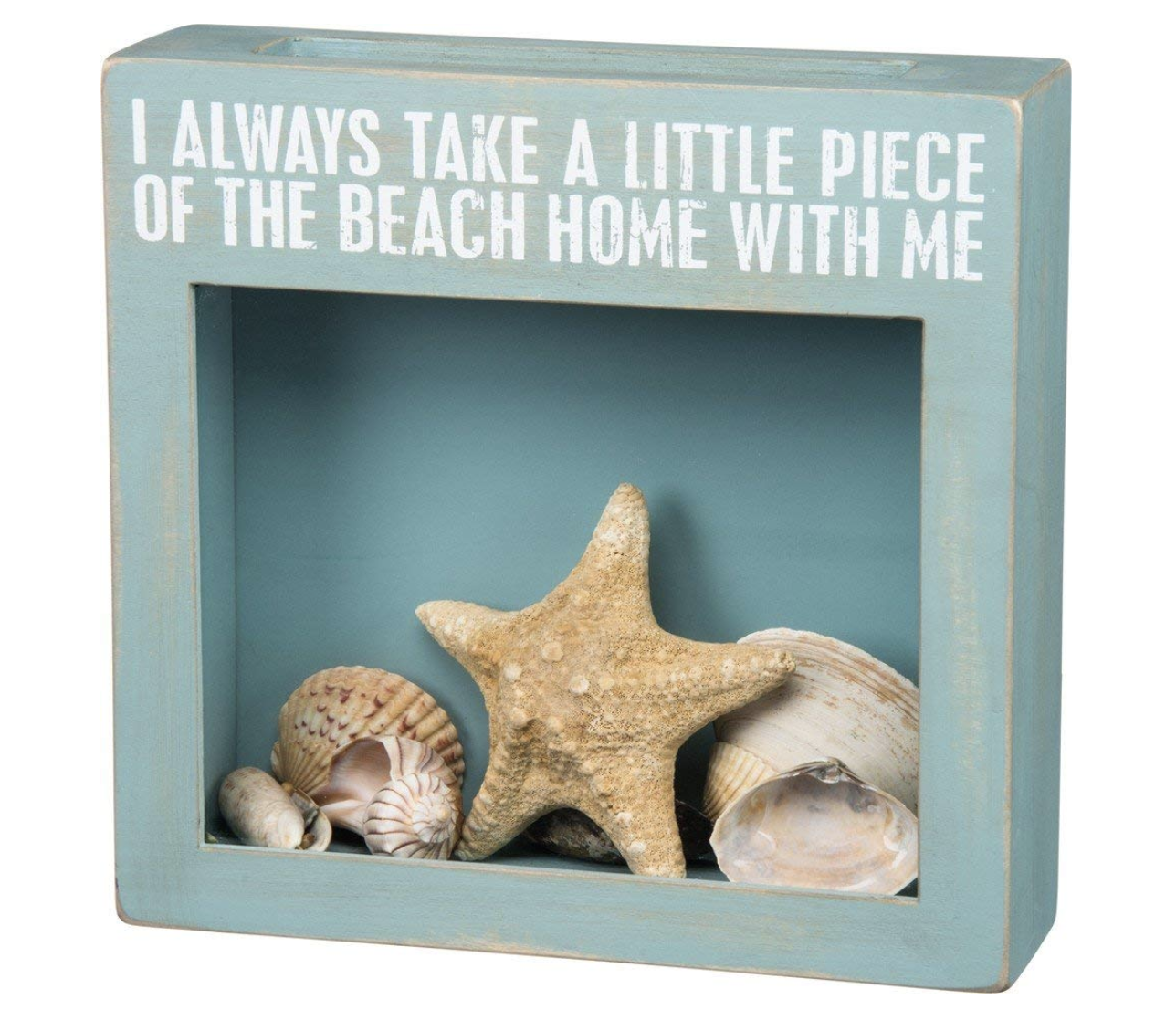 Beach Shell Shadow Box - Stash your sand and shells in this sweet beach-themed shadow box and enjoy memories from your trips for years to come! This 10x10 coastal style wooden shadow box allows you to show off your treasures without the sandy mess.