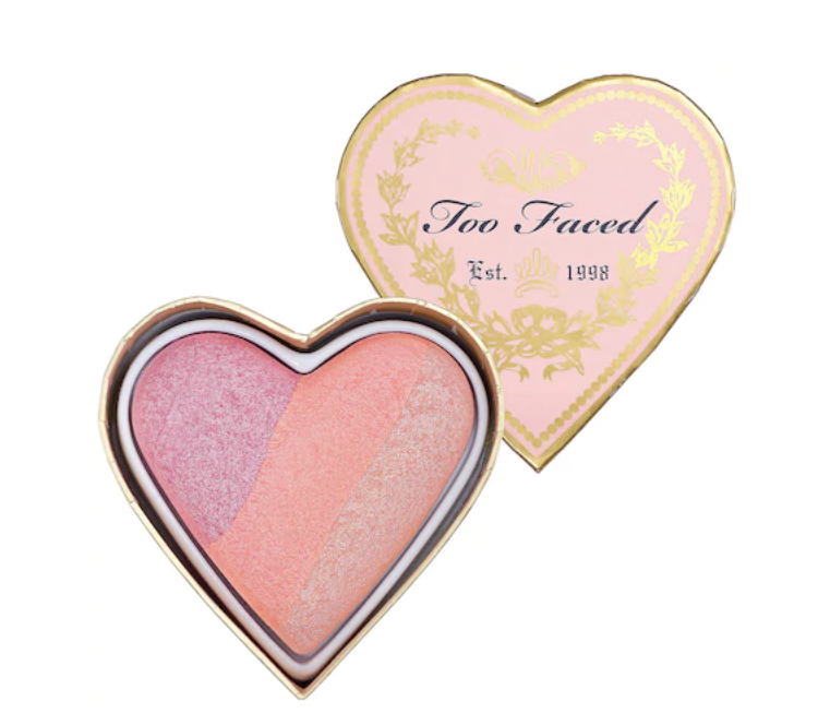 Too Faced Sweethearts Perfect Flush Blush - This 100% cruelty free tri-color blush has adorable packaging and comes in multiple shades to match your sweetheart's glowing skin tone. Available in store at Sephora or online.