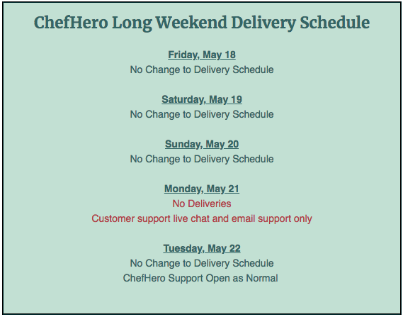 chefhero long weekend delivery schedule