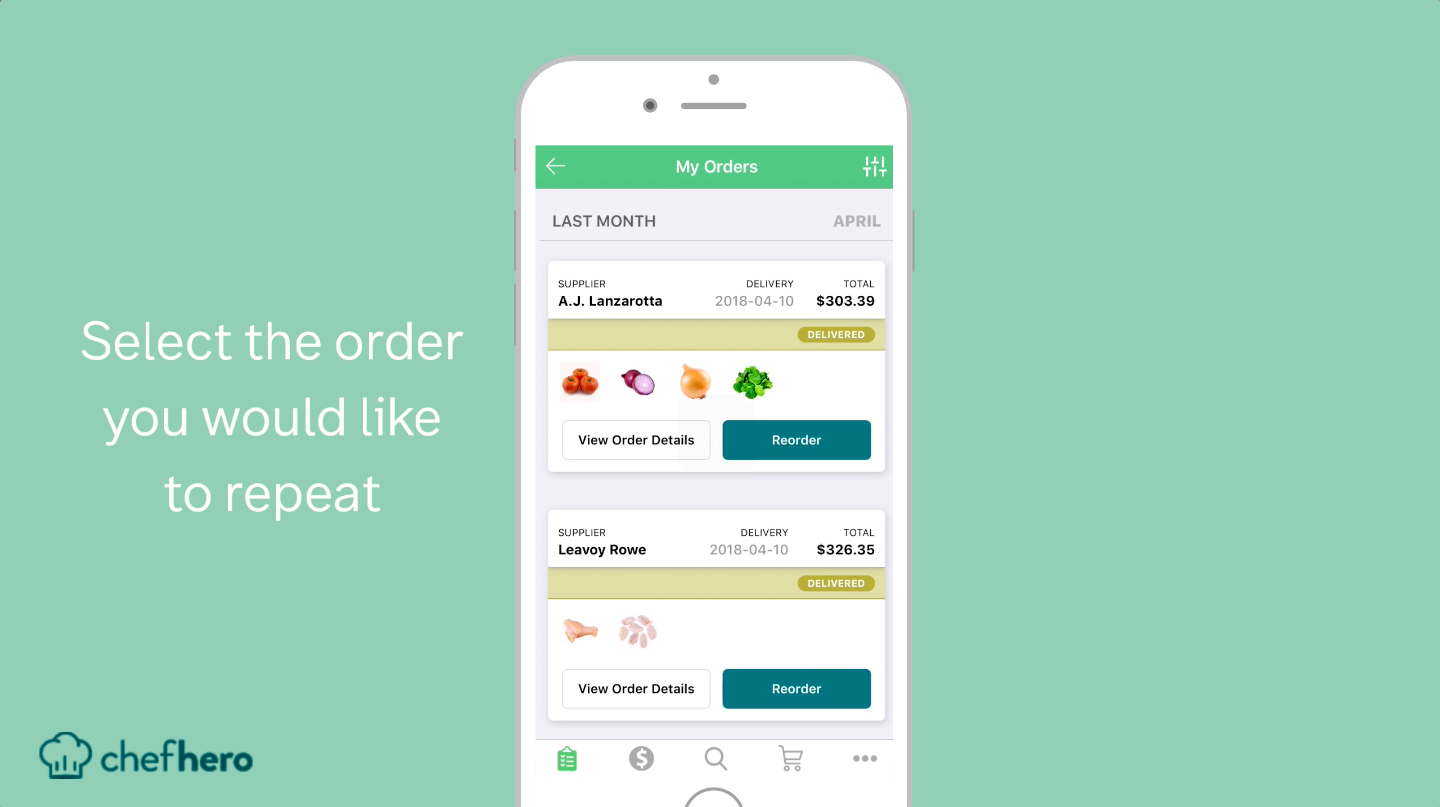 reordering chefhero restaurant supply ordering feature selecting order