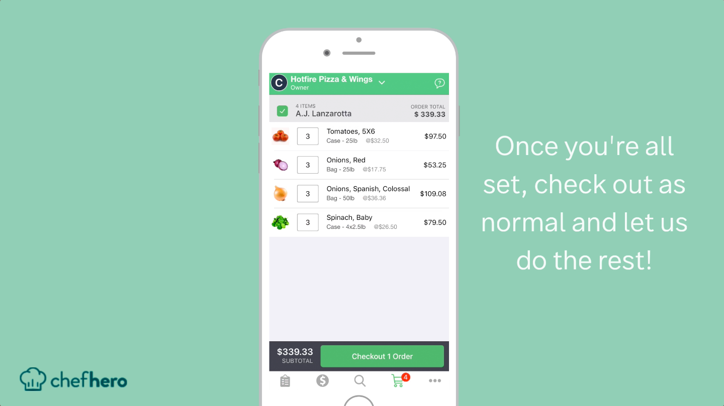 reordering chefhero restaurant supply ordering feature how to checkout
