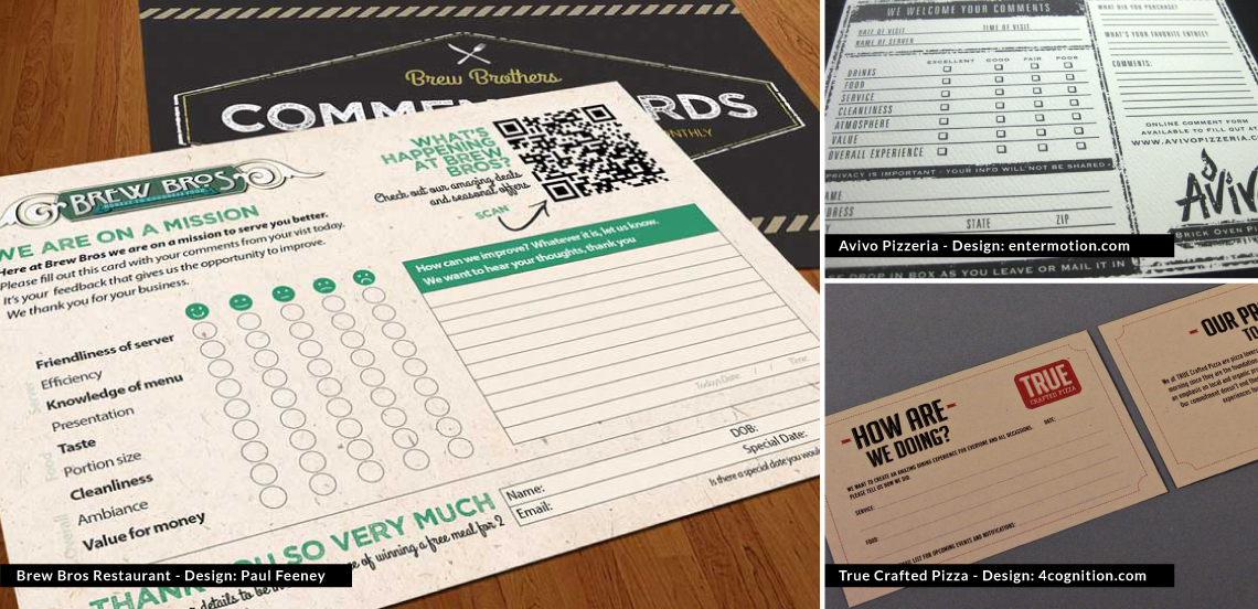 Restaurant Comment Cards example
