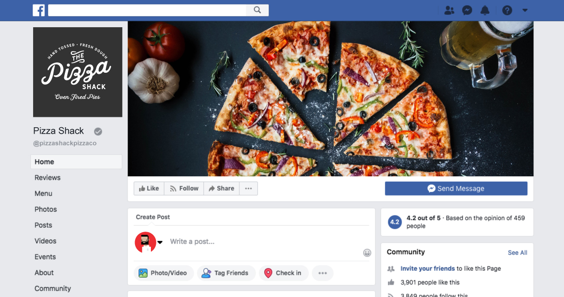 Restaurant facebook page example