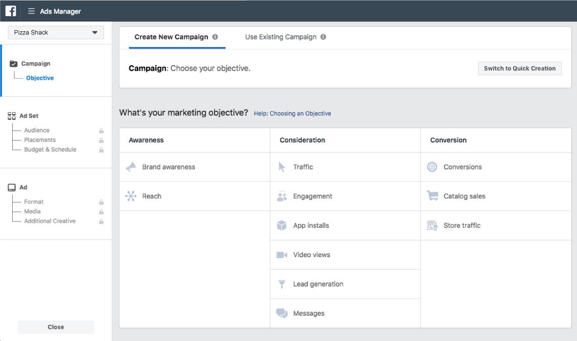 facebook ads choosing ad marketing objectives