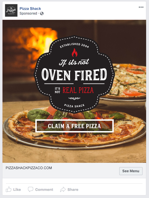 Restaurant Facebook Ad example