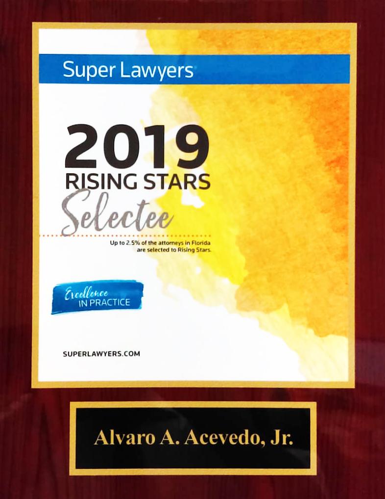 Super Layers Plaque Rising Star Alvaro Acevedo Tax Law