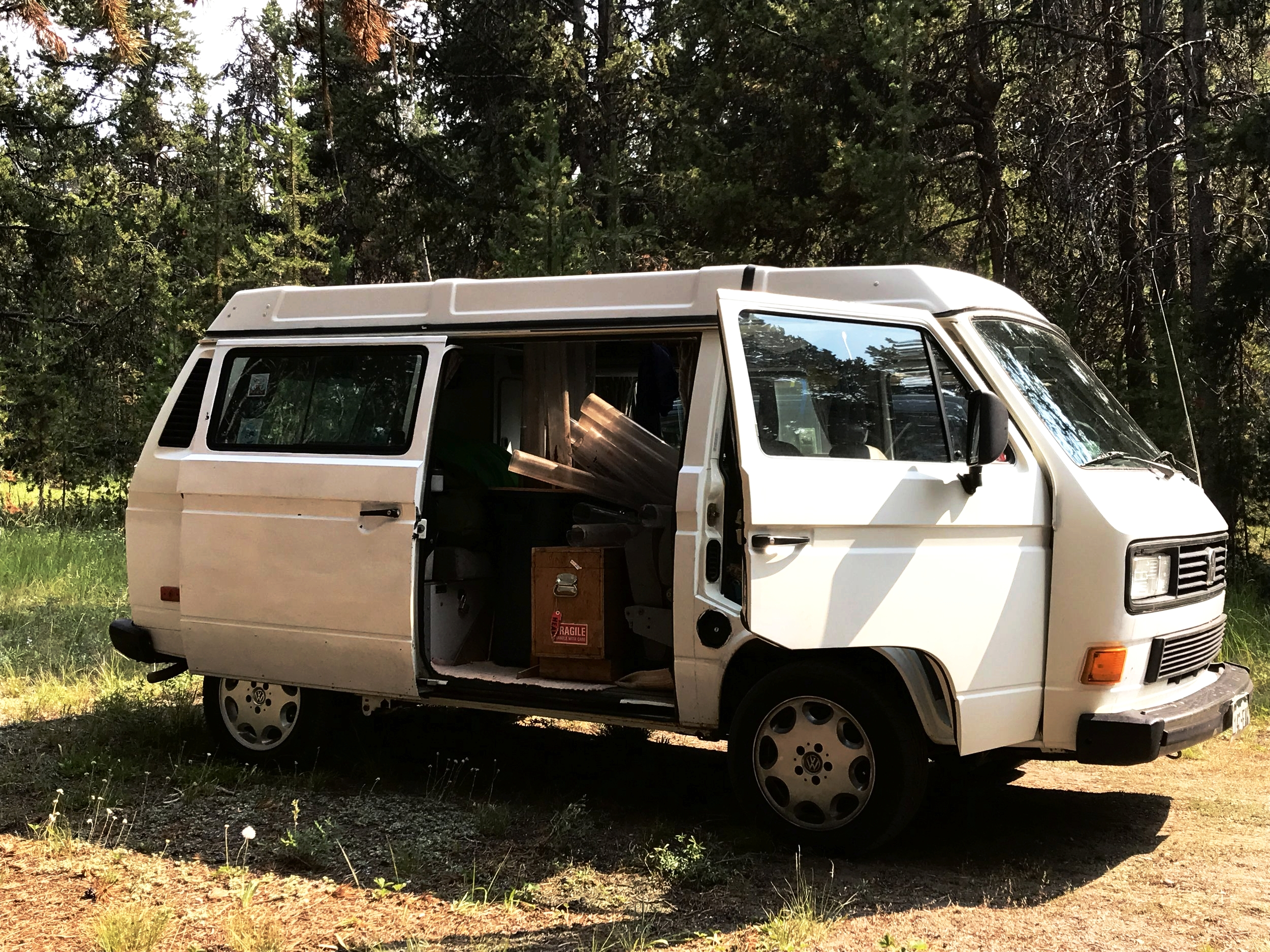 Pat Shanks' trusty research van, complete with a bouquet of sediment core liners and gravity coring apparatuses.