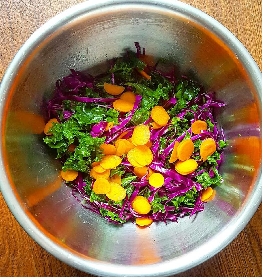 The start to any beautiful salad! local kale, local cabbage and local carrot massaged with extra virgin olive oil and sea salt